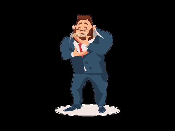 Businessman eating pizza Illustration