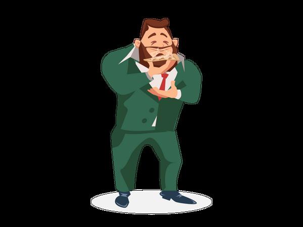 Businessman eating pizza slice Illustration