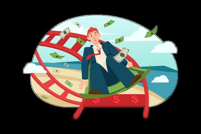 Businessman enjoying profit Illustration