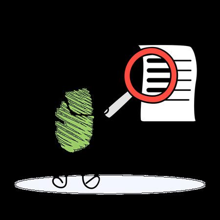 Businessman examining business report Illustration