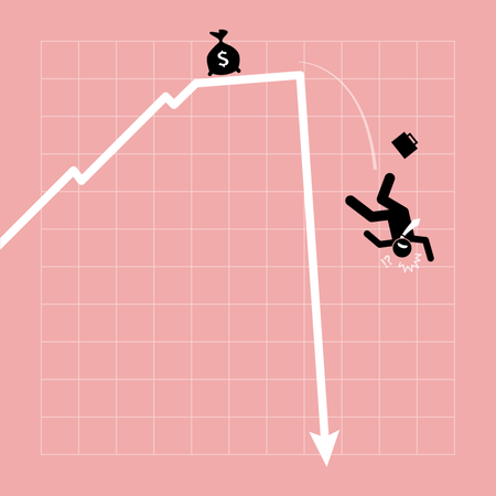 Businessman fall down from the chart as the graph goes nosedive in a sudden Illustration