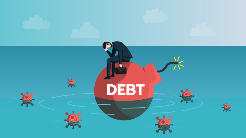 Businessman Feel Stress About His Debt Surounded by Virus Illustration
