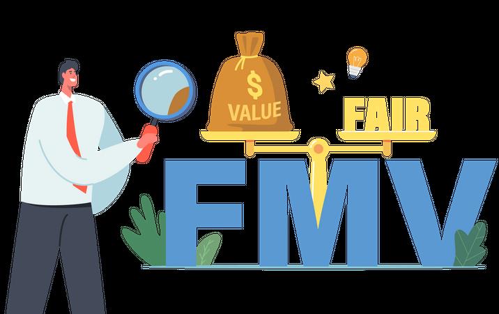 Businessman finding Fair Value Market Illustration