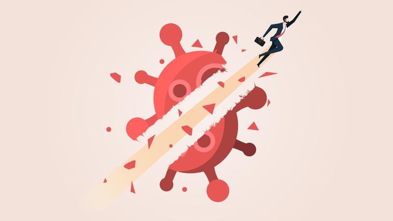 Businessman Fly Breakthrough Coronavirus Crisis Illustration