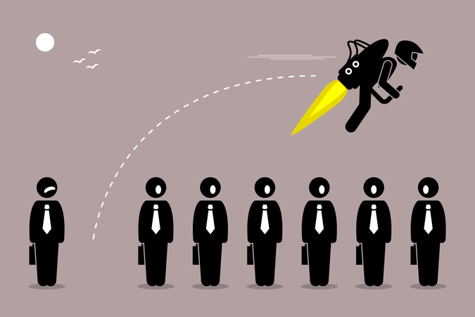 Businessman flying away with a jet-pack from his colleague Illustration
