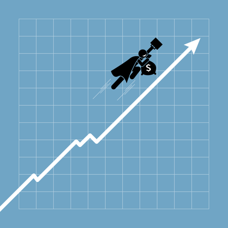 Businessman flying up above the chart as the graph going uptrend Illustration