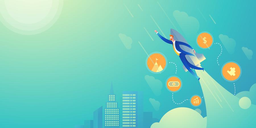 Businessman flying with rocket on sky background Illustration