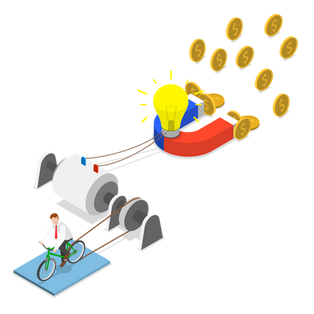 Businessman generates energy for lighting bulb and attracting money using magnet Illustration