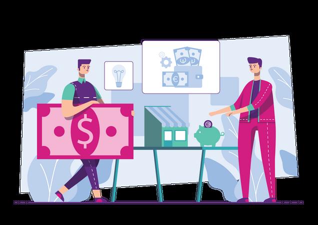 Businessman getting profit from digital marketing Illustration