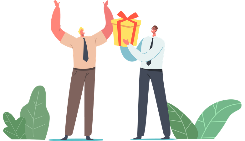 Businessman Giving Wrapped Gift Box to Cheerful Colleague for Birthday Illustration