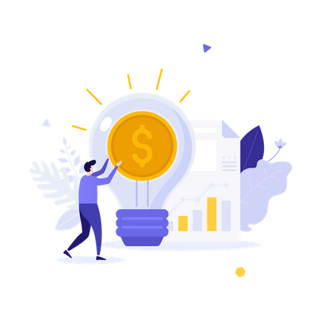 Businessman, glowing lightbulb with dollar coin inside and document with diagram Illustration