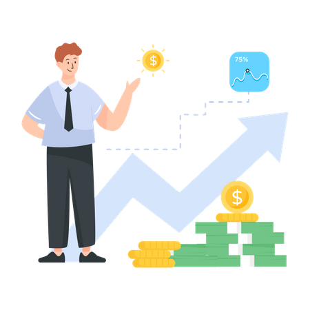 Businessman growing income of the business Illustration