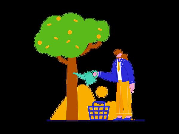 Businessman Growing money plant Illustration