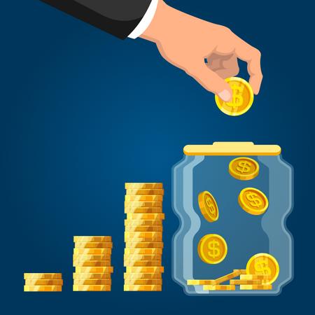 Businessman hand putting coin in glass jar Illustration