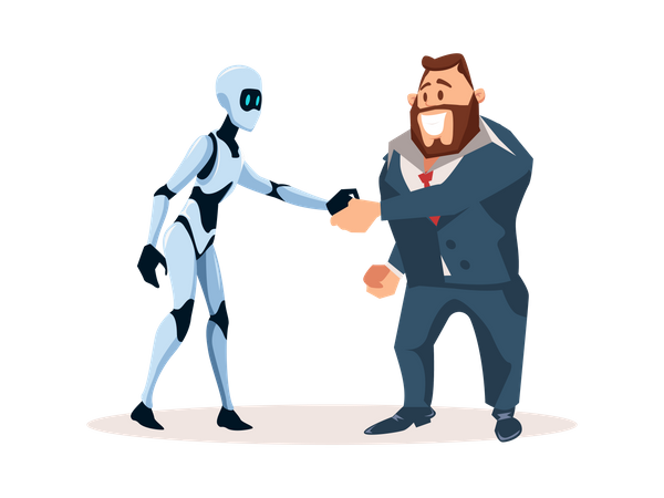 Businessman handshaking with robot employee Illustration
