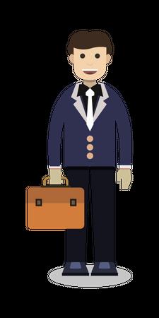 Businessman holding briefcase Illustration