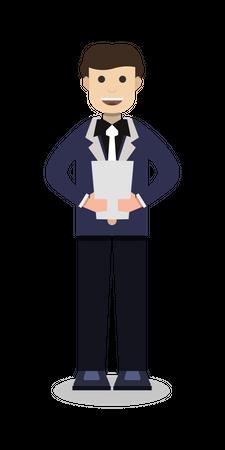 Businessman holding document Illustration