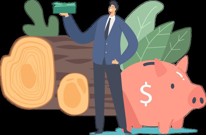 Businessman Holding Dollars Pile Stand Illustration