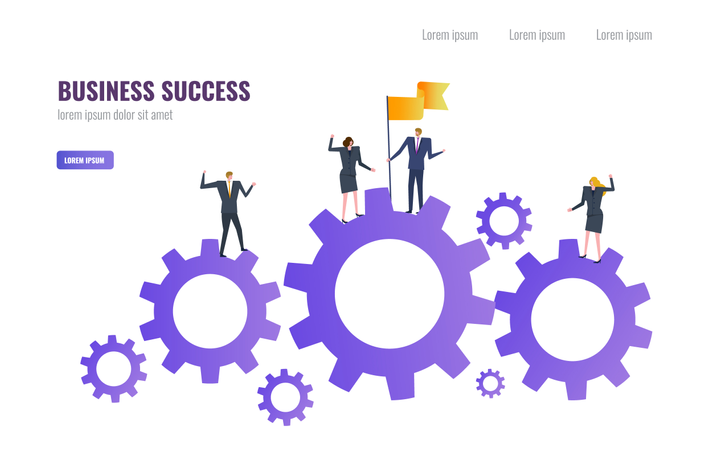 Businessman holding flag on the gear with teams. Business Successful and Teamwork  concept Illustration