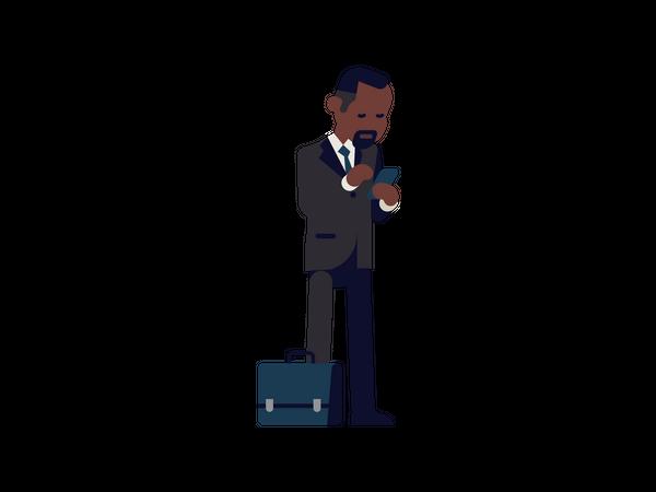 Businessman holding mobile Illustration