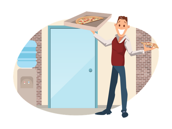 Businessman Holding Pizza Box at Workplace Illustration