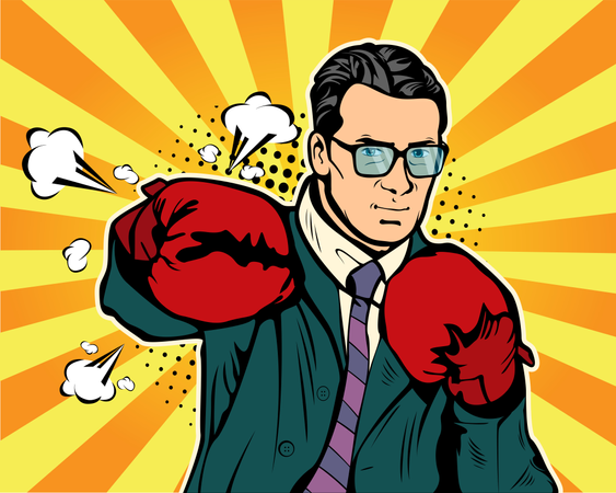 Businessman in boxing gloves vector illustration in comic pop art style Illustration