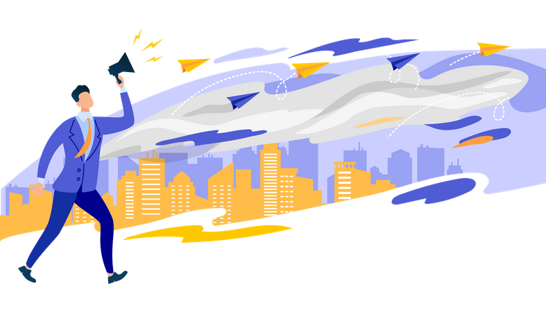 Businessman in Formal Suit Shouting in Loudspeaker Illustration