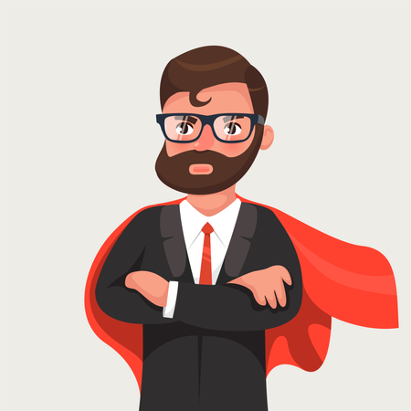 Businessman in glasses a red cloak Illustration