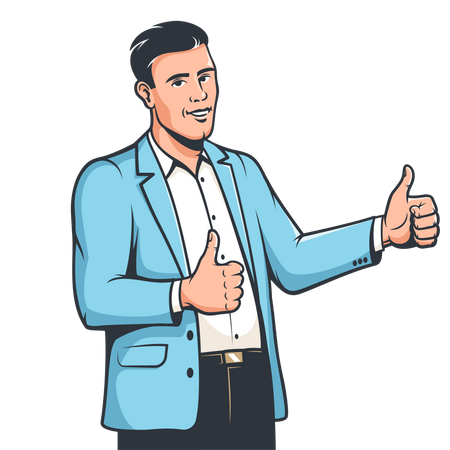 Businessman in suit showing both thumbs up Illustration