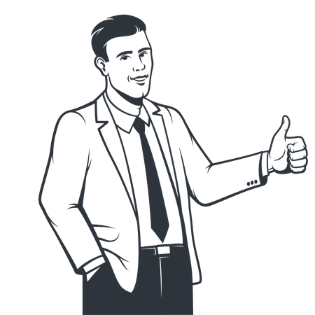 Businessman in suit showing thumbs up Illustration