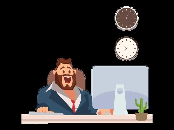 Businessman in Suit Work at Office Desk by Laptop Illustration