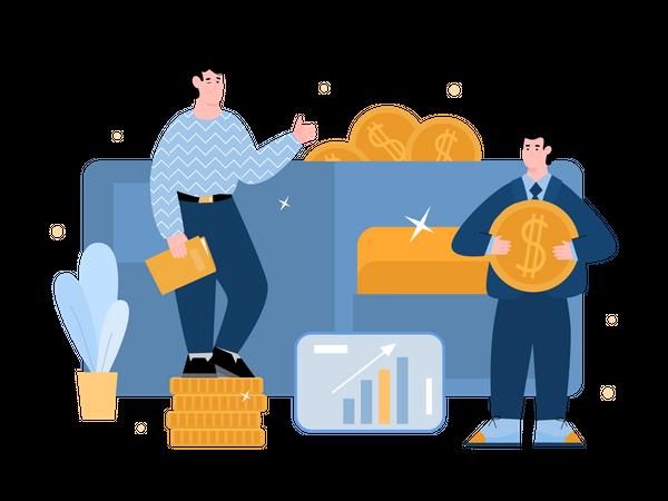 Businessman investing in gold Illustration