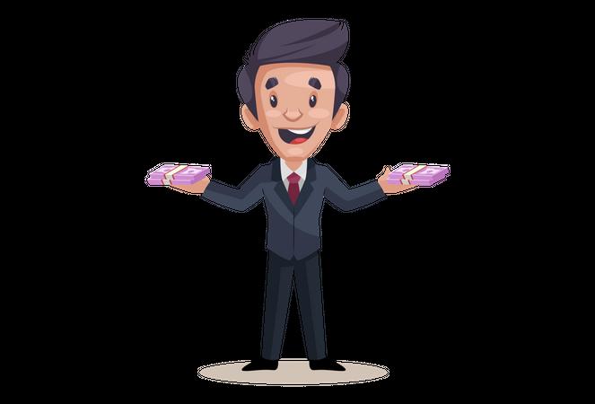 Businessman is holding money in both hands Illustration