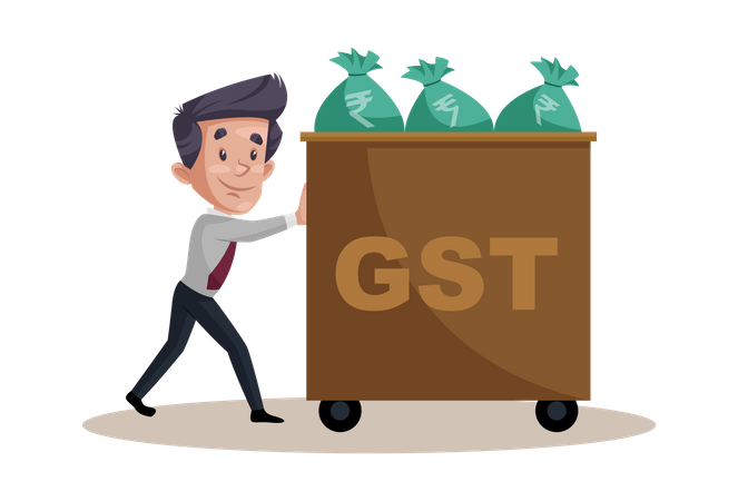 Businessman is pushing a GST money bags trolley Illustration