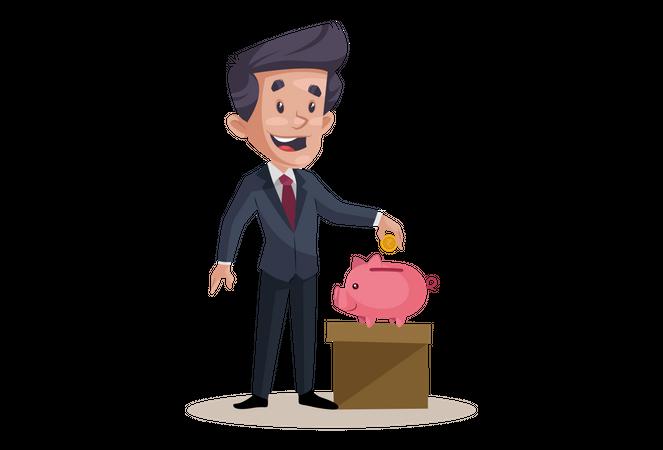 Businessman is saving money in piggy bank Illustration