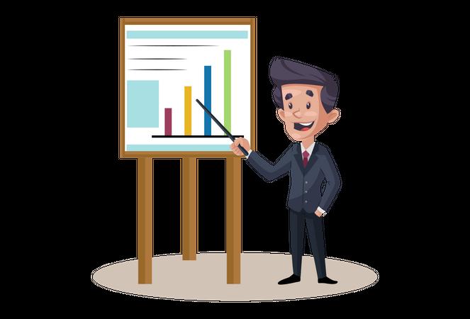 Businessman is showing Presentation Illustration