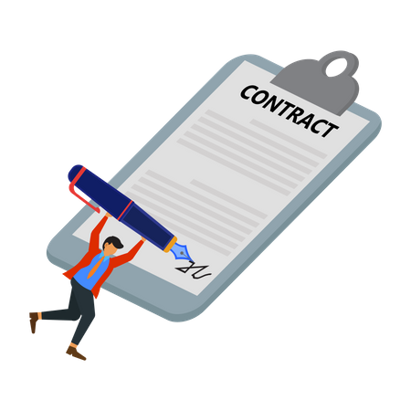Businessman is signing a work contract Illustration