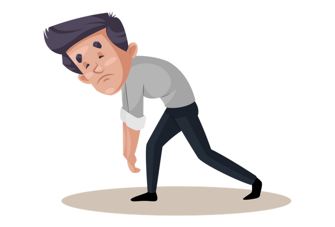 Businessman is very tired due to workload Illustration