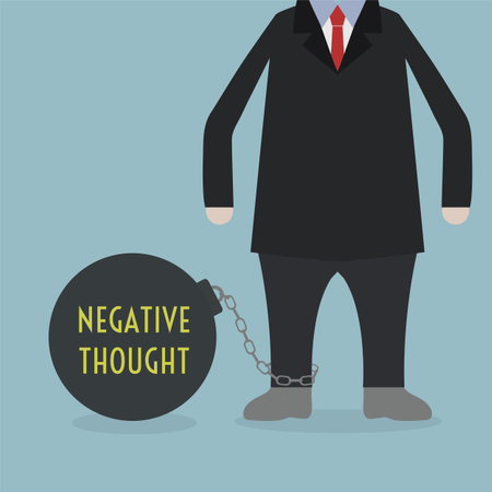 Businessman Locked In A NEGATIVE THOUGHT Ball And Chain Illustration