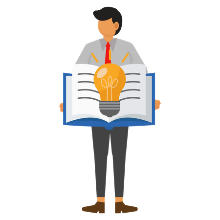 Businessman looking for ideas in books Illustration