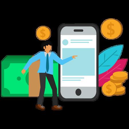 Businessman making money online with smartphone Illustration
