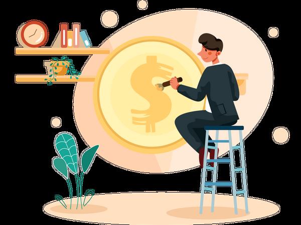 Businessman making profit Illustration