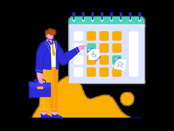 Businessman managing Schedule on calendar Illustration