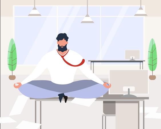 Businessman Meditating Sit on office Table Illustration