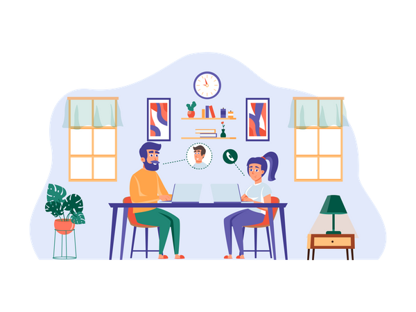 Businessman on a meeting with client from home Illustration