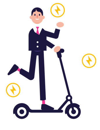 Businessman on e-scooter going to work Illustration