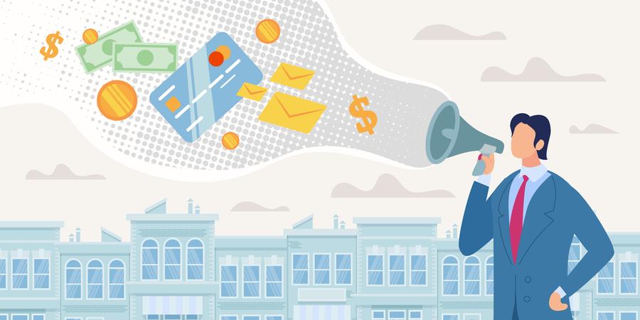 Businessman or Banker Speaking in Loudspeaker, Advertising Customers Credit Illustration