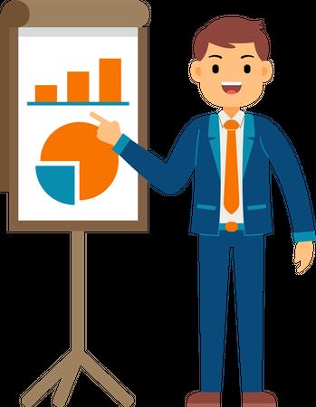 Businessman presenting data on presentation board Illustration