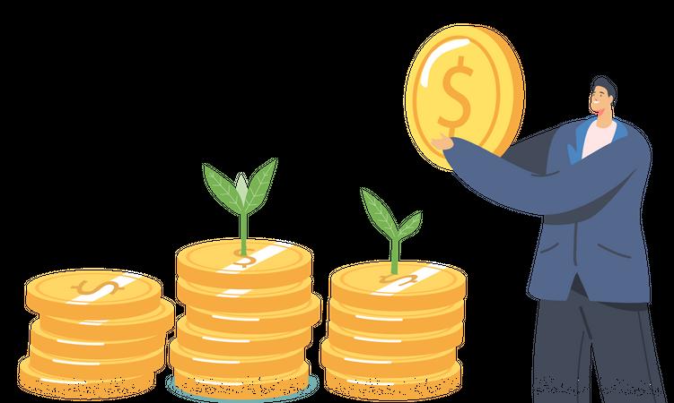 Businessman Presenting Financial Growth Illustration