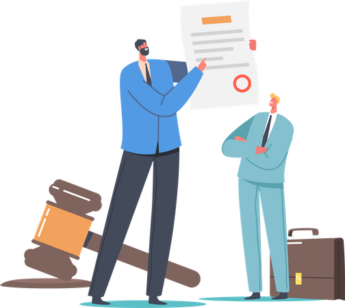 Businessman Presenting Paper with Society Control Guidelines and Strategy for Company Illustration